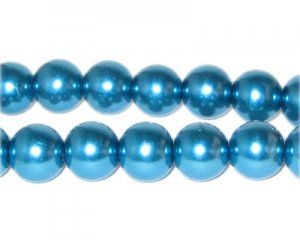 12mm Cyan Glass Pearl Bead, approx. 18 beads