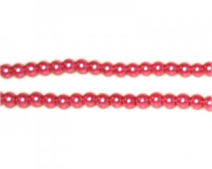 4mm Round Deep Fuchsia Glass Pearl Bead, approx. 113 beads