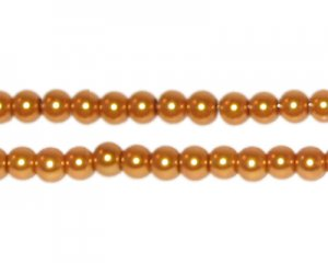 4mm Round Yellow Gold Glass Pearl Bead, approx. 113 beads