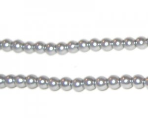 4mm Round Silver Glass Pearl Bead, approx. 113 beads