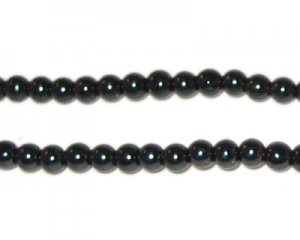 4mm Round Black Glass Pearl Bead, approx. 113 beads