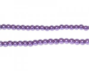 4mm Round Purple Glass Pearl Bead, approx. 113 beads