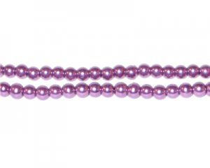 4mm Round Violet Glass Pearl Bead, approx. 113 beads