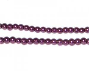 4mm Round Crimson Glass Pearl Bead, approx. 113 beads
