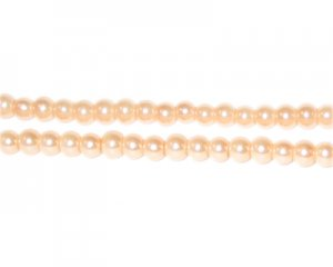 4mm Round Champagne Glass Pearl Bead, approx. 113 beads