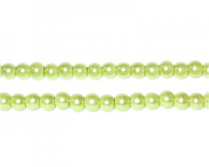 4mm Round Apple Green Glass Pearl Bead, approx. 113 beads