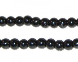 6mm Round Black Glass Pearl Bead, approx. 78 beads