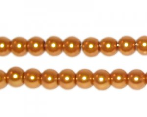 6mm Round Yellow Gold Glass Pearl Bead, approx 78 beads