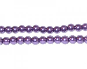 6mm Round Purple Glass Pearl Bead, approx. 78 beads