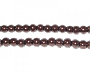 6mm Chocolate Glass Pearl Bead, approx. 78 beads