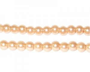 6mm Round Champagne Glass Pearl Bead, approx 78 beads