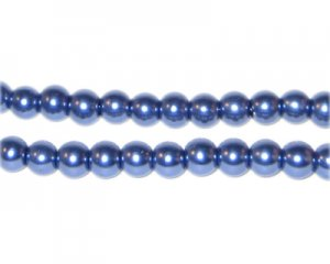 6mm Round Deep Cerulean Glass Pearl Bead, approx. 78 beads
