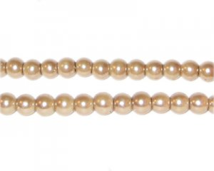6mm Round Ginger Glass Pearl Bead, approx. 78 beads