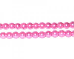 6mm Pink Glass Pearl Bead, approx. 78 beads