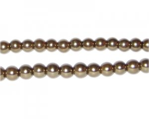 6mm Antique Gold Glass Pearl Bead, approx. 78 beads