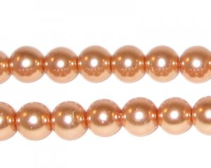 8mm Round Pale Gold Glass Pearl Bead, approx. 56 beads