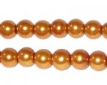 8mm Round Yellow Gold Glass Pearl Bead, approx. 56 beads