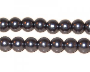 8mm Round Charcoal Glass Pearl Bead