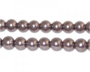 8mm Round Cocoa Glass Pearl Bead, approx. 56 beads