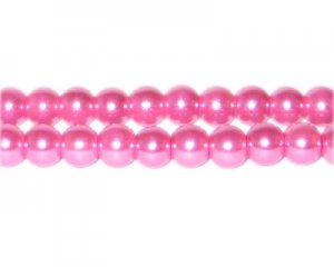 8mm Pink Glass Pearl Bead, approx. 56 beads