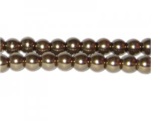 8mm Antique Gold Glass Pearl Bead, approx. 56 beads