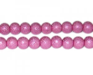 10mm Hot Pink Rustic Glass Pearl Bead, approx. 23 beads