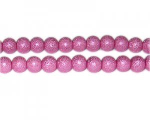8mm Hot Pink Rustic Glass Pearl Bead, approx. 56 beads