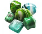 Approx 1.5oz Green Lampwork Mix2