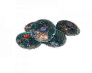 20mm Aqua Floral Handmade Lampwork Glass Bead, 5 beads