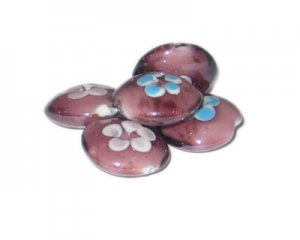 20mm Plum Floral Handmade Lampwork Glass Bead, 5 beads