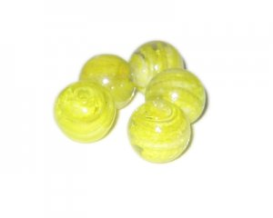 20mm Yellow Pattern Handmade Lampwork Glass Bead, 5 beads