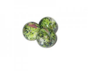 16mm White Floral Handmade Lampwork Glass Bead, 3 beads