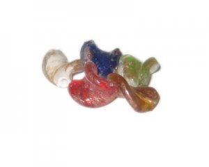 20 x 14mm Random Color Foil Wavy Handmade Lampwork Glass Beads,