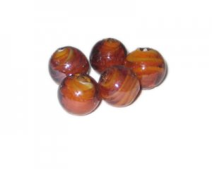 16mm Brown Swirl Handmade Lampwork Glass Beads, 5 beads