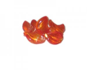 20 x 14mm Red Foil Wavy Handmade Lampwork Glass Beads, 5 beads