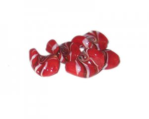 20 x 16mm Red Pattern Wavy Handmade Lampwork Glass Beads, 5 bead