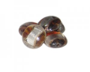 20mm Brown/Silver Foil Handmade Lampwork Glass Beads, 5 beads