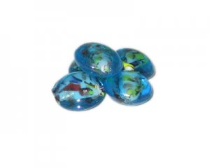 16mm Turquoise Splatter Handmade Lampwork Glass Beads, 5 beads