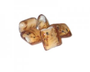 16mm Apricot Square Handmade Lampwork Glass Beads, 5 beads