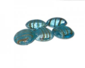 20mm Turquoise Foil Glass Lampwork Bead, 5 beads