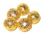 16mm Round Gold Filigree Metal Beads, approx. 15 beads