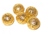14mm Round Gold Filigree Metal Beads, approx. 20 beads