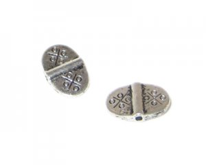 16 x 10mm Silver Etched Metal Spacer Bead - 6 beads