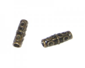 18 x 6mm Bronze Metal Spacer Tube - 4 beads