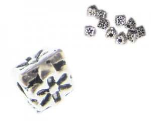 6mm Silver Triangle Etched Metal Spacer Bead, 10 beads