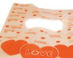 "8 x 6"" Orange Love Plastic Gift Bag, 10 bags"