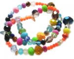 "4 - 10mm Fun, Electroplated Color Glass Bead Mix - 16"" string"