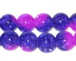 12mm Blue/Purple/Violet Crackle Glass Bead, no returns!