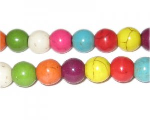 "8mm Round Color Dyed Turquoise Bead, 15"" string"