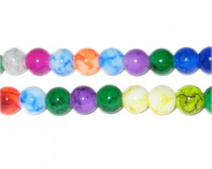 "6mm Round Color Marble-Style Glass Bead, 16"" string"